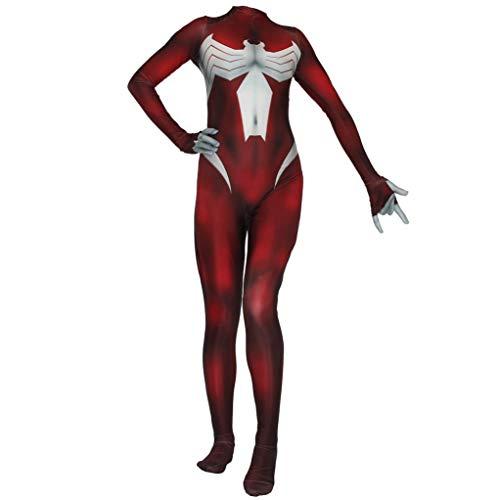 LINLIN Ultimate Spider-Woman Bodysuit, Traje de superhroe Cosplay Mallas Unidas Mono Halloween Onesies Ropa de Rendimiento para nios/Adultos,Red-Adult XL(170~175cm)
