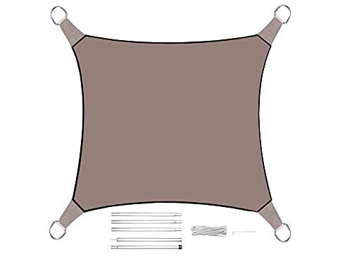 Voile d'ombrage carré de 3,6 m - Couleur : gris/marron - Avec jeu de barres - Protection solaire pour votre jardin.