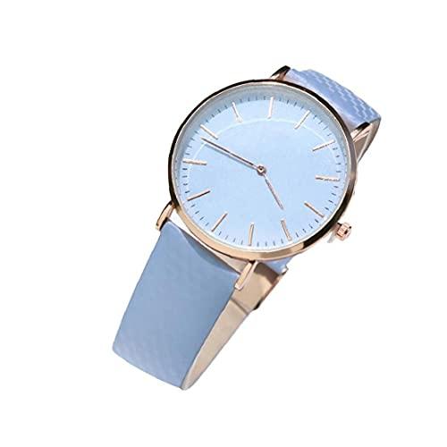 Mujer Varios cambio de color del reloj de cuarzo analógico reloj clásico con cuero del reloj de pulsera resistente del brazal de agua incorporado en la batería azul, mujeres reloj análogo del cuarzo