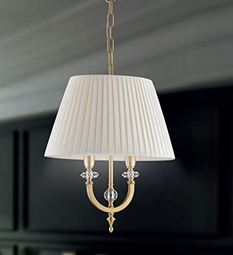 Lámpara de techo clásica de 2 luces de latón dorado satinado con cristales esmerilados transparentes y pantalla de color marfil PR 6769/S40