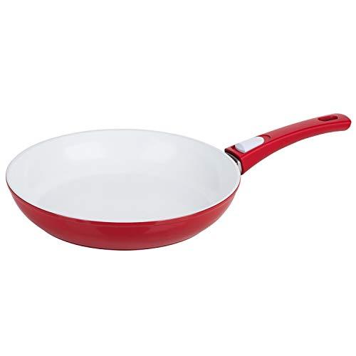 Genius Cerafit Style Deluxe Bratpfanne 24cm in rot - mit kratzfester Antihaft-Beschichtung für gesundes Kochen ohne Fett und Öl - Keramikpfanne-n Induktionspfanne