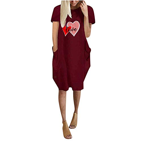 Women's T-Shirt Dress Short Sleeve Casual Midi Dress Summer Solid Color Loose Dress Nightdresses Shirt Dress Soft Sleepwear Loungewear with Pockets Red
