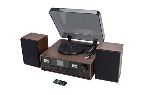 Denver MRD-52 Musiksystem mit DAB+/FM/AM Radio, Plattenspieler und CD Player, Holzoptik