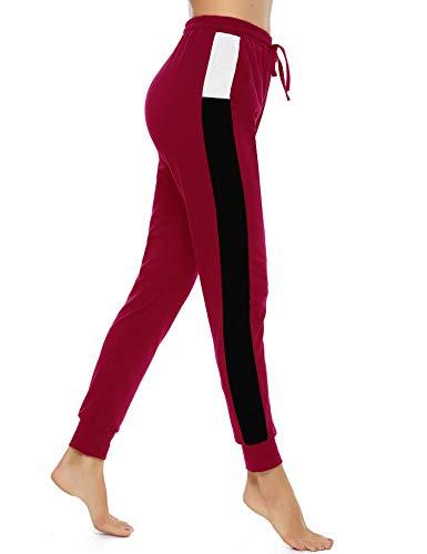 Akalnny Damen Jogginghose Lang High Waist Baumwolle Trainingshose Sweathose Sporthose Freizeithosen Yogahosen Hosen mit Taschen Bequem(Groß Rot,L)