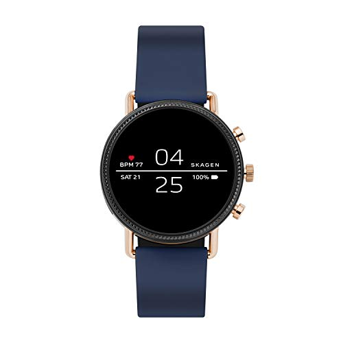 Skagen Connected Falster 2 Stainless Steel and Silicone Touchscreen Smartwatch, Color: Rose Gold, Navy (Model: SKT5110)