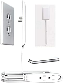 Sleek Socket Thin Electrical Outlet Childproofing Cover with Protective Cord Clips |..