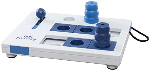 TRIXIE Dog Activity Mini Mover Toy, Level 3 Advance Puzzle for Dogs, Interactive Treat Puzzle, Blue and White