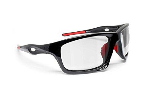 BERTONI Gafas Deportivas Fotocromaticas de Ciclismo Moto Running Esquí Pesca Envolventes a Prueba de Viento mod. Omega Italy (Negro Brillante/Rojo - Fotocromáticas)