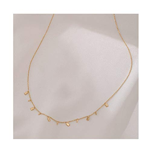 Zaza Womens Simple Delicate Full Pendent 18K Gold Plated/Silver Plated Layered Pendant Handmade Round/Rectangular/Drop-shaped Chokers Necklaces (Color : Gold, Size : Rectangular)