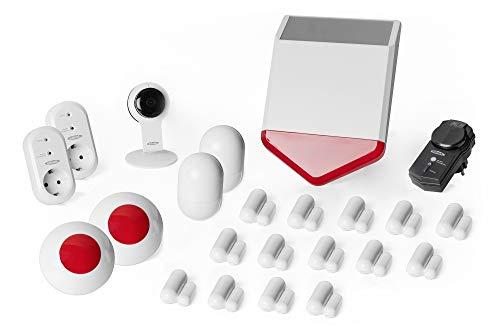 ednet Smart-Home Set - HD-Kamera, 14 Kontaktsensoren, 2 Bewegungsmelder, 3 Sirenen, 3 Funksteckdosen - Alexa Echo & Google Assistant