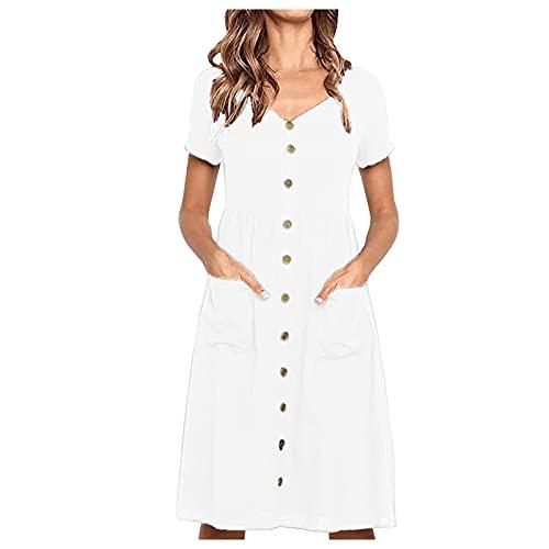Vestido informal para mujer, manga corta, monocolor, cuello en V, bolsillos, línea A, vestido de verano, cintura alta, minivestido, blusa, vestido suelto, vestido de playa., Blanco, M