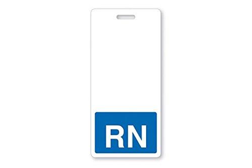 RN Badge Buddy- RN Vertical Hospital ID Badge Buddy with Blue Background by Alliance ID