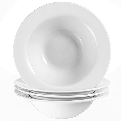 Wareland Elegant White Soup Bowls, 22 Ounces Pasta Bowls Set of 4, Wide Rim Salad Bowls, Ultra-fine Porcelain Rimmed Bowls, Large Deep Soup Plates for Eating, Microwave Dishwasher Oven Safe Bowls