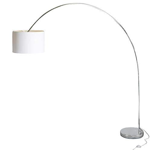 anTes interieur Große Bogenleuchte Roma weiß mit 15 Watt LED-Leuchtmittel/Stoffschirm 43 cm Durchmesser/13 Kilo Marmorfuss/Metall verchromt/Wohnzimmer Bogenlampe Bogenstehlampe Bogenstandleuchte