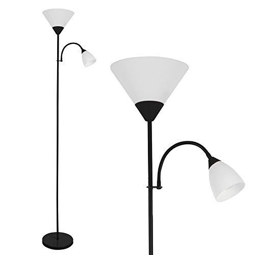 Modern Gloss Black 2 Way Mother/Father Parent & Child Uplighter and...