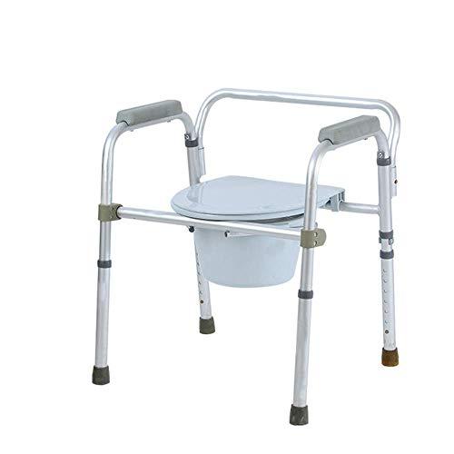 YAeele Antideslizante WC Plegable Silla discapacitados Baño minusválidos IR al baño Silla Ajustable en Altura del Asiento de Ancianos Silla con Orinal Adecuado para baño.