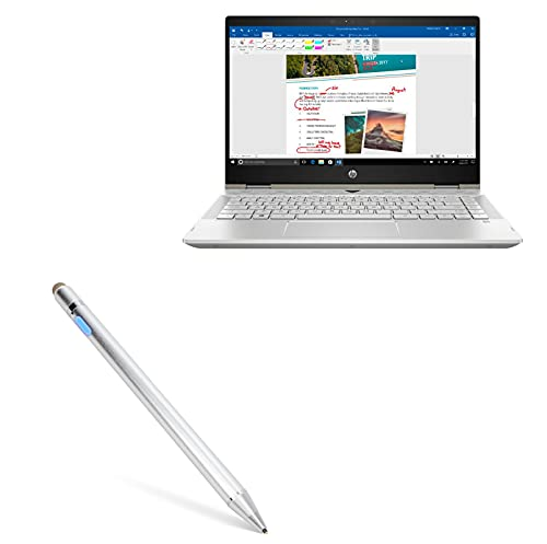 Stylus Pen for HP Pavilion x360 Convertible 2-in-1 (14') (Stylus Pen by BoxWave) - AccuPoint Active Stylus, Electronic Stylus with Ultra Fine Tip - Metallic Silver