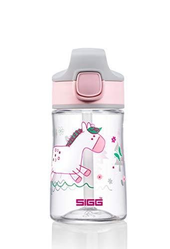 SIGG Miracle Pony Friend Borraccia bambini (0.35 L), Bottiglia per bambini con coperchio ermetico, Borraccia salvagoccia trasportabile con una mano in tritan