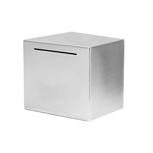 ZSooner Hucha moneda decoración del hogar acero inoxidable para adultos amantes de regalo caja de depósitos de papel dinero escritorio ahorro sólo puede ahorrar seguro (12 x 12 cm)