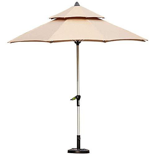 LXYZ Sombrilla de jardín de 9 pies para patio al aire libre con base, gran sombrilla portátil con manivela, color caqui