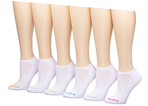 Body Glove Womens Low Cut Athletic Socks White Multicolor (pack of 6)