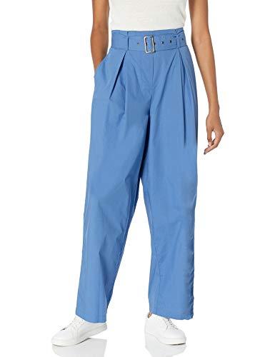 Marque Amazon - The Drop Julia Pantalon Taille Haute pour Femme, Ceinturé, en Popeline, Coupe Large, Jambe Évasée Plissée