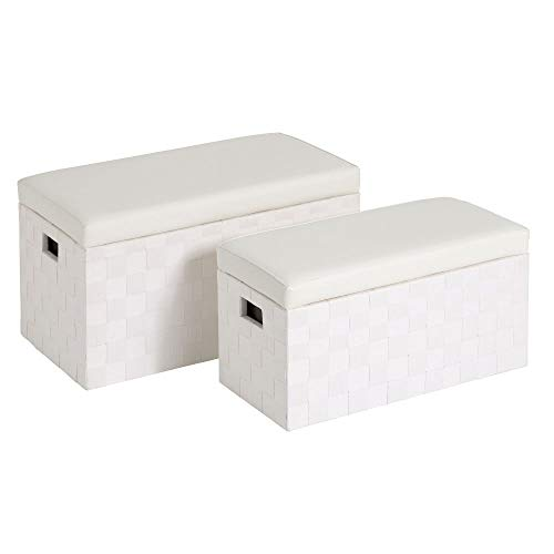Set de 2 baúles Blancos de Madera con Asiento tapizado - LOLAhome
