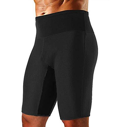 Vertvie Homme Sauna Short de Sudation Compression Minceur Leggings Collant avec Poches Pantalon Court Sport en Néoprène Slim Slim Joggings Fitness pour Perte de Pois (Noir 1, 2XL)