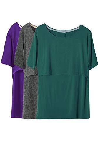 Smallshow Mujer Enfermería Tops de Manga Corta en Capas de diseño Camisas de Lactancia Materna,Deep Green Purple Dim Grey,M