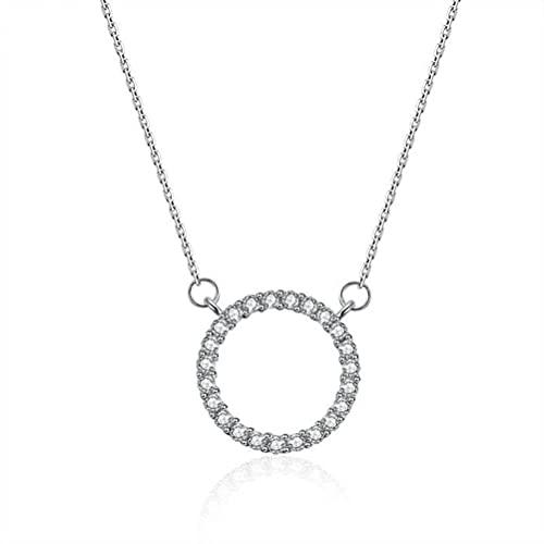 GYUFU Collar de Regalo para Mujer Anillo con Colgante de Plata Esterlina S925 Simple con Collar de Diamantes, Joyas de Plata para Niña Collar Del Día de San Valentínoro, Plata 925
