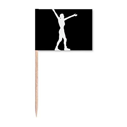 Rollschuh-Sport-Zahnstocher, Flaggen, Marker, Topper, Party-Dekoration, Schwarz