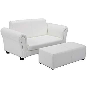 HONEY JOY Kids Sofa 2 Seat Toddler Couch Lounge Bed with Ottoman Sturdy Wood Construction Children PU Leather Upholstered Loveseat Armrest Chair for Bedroom Living Room Double Seat w/Stool  White