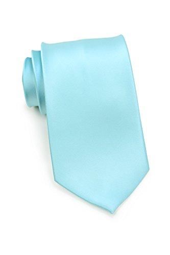 Bows-N-Ties Men's Necktie Solid Color Microfiber Satin Tie 3.25 Inches (Pool Blue)
