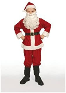 Halco Complete Santa Claus Suit Set Child Costume 8-10 Medium Red Flannel