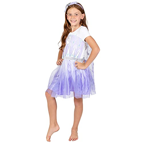 Disney Frozen Elsa Anna Little Girls Costume Dress Gown & Headband Set 6-6X Purple/White