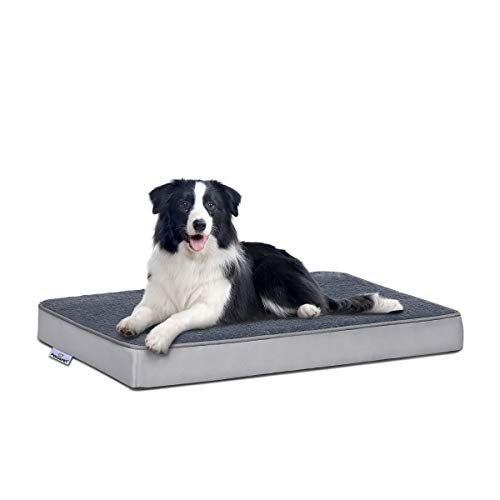FOCUSPET Orthopedic Dog Bed Memory Foam Dog Bed Outdoor Dog Bed Mattress for Crate with Removable Washable Cover for Small, Medium and Large Dogs Size Medium(29''x18''x3'') Includes Chew Toy