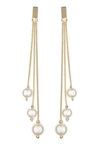 Clip su orecchini - Placcato oro con tre perle - Kalinda di Bello London