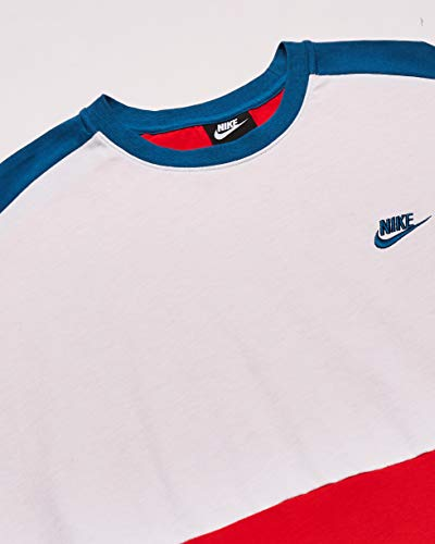 Nike NSW Top Ss JSY Cb T-Shirt - University Red/White/Industrial Blue/(Industrial Blue), M