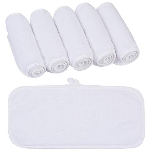 KinHwa Make-Up Entferner Tuch Ultraweich Abschminktuch Microfaser Gesichtsreinigungstücher Wiederverwendbar und Waschbar - 6 Stück Weiß - 15cm x 30cm
