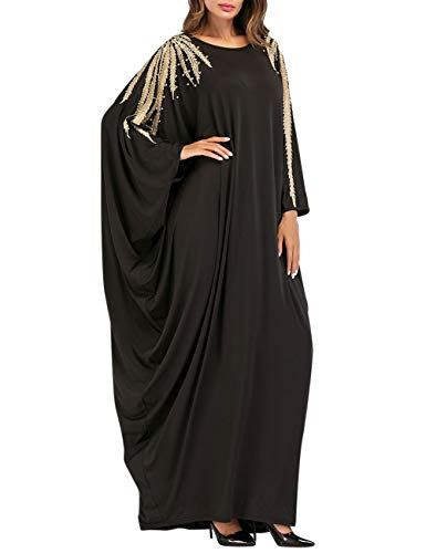 Zhhlinyuan Musulmanes Abaya Maxi Vestidos Noche Kaftan Vestido Arábica Bata - Mujeres Kimono Maxi Manga Larga Diario Casual Vestir
