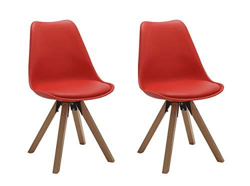 Duhome 2er Set Stuhl Esszimmerstühle Küchenstühle Farbauswahl mit Holzbeinen Sitzkissen Esszimmerstuhl Retro 518M, Farbe:red, Material:Kunstleder