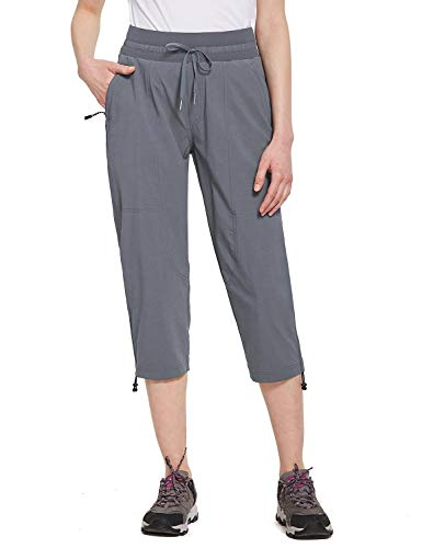 BALEAF Women's Capris for Hiking Pants Lightweight Quick Dry Upf50+ with Zipper Pocket Camping Fishing Jogging Pants Gray L