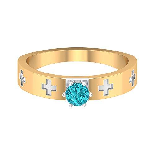 Rosec Jewels 14 quilates oro blanco redonda round-brilliant-shape H-I Blue Diamond Creado en laboratorio verde Paraiba