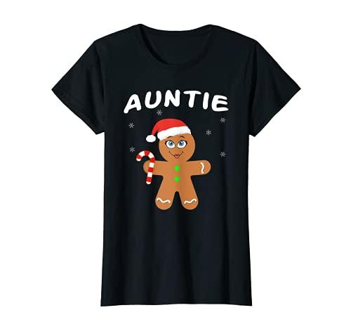 Mujer Familia de trajes de Navidad a juego de pijamas de tía de pan de jengibre Camiseta