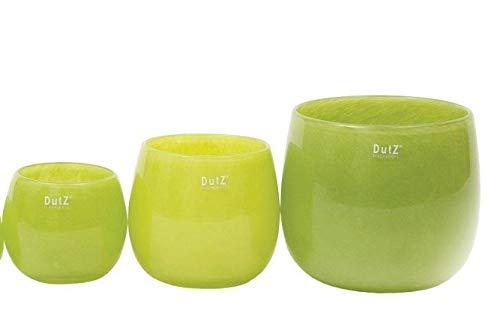 Dutz Collection | Pot Lime Deko Glas Vase H 14 cm D 16 cm Limone Grün Windlicht Übertopf | Mundgeblasen Dickwandig | Tischdeko Frühling Sommer