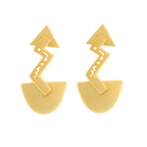 Behave® dames bliksem-oorbellen van onedel metaal - goudkleurig - 3cm grootte