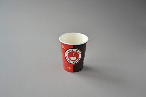 1000 Stück Coffee to Go Becher (Ø 80mm), 200ml Pappbecher Kaffeebecher Hartpapier Trinkbecher
