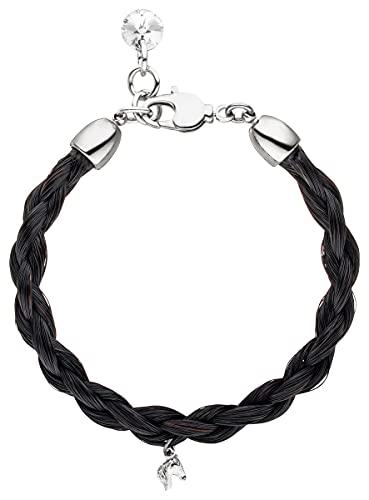 Schwarzes Pferdehaar Armband mit Swarovskistein und Minipferdekopf // Länge 17.5 cm Durchmesser 0,5cm