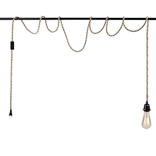 Lámpara colgante con enchufe, kit de fijación de luz colgante con interruptor, cuerda de cáñamo industrial vintage, casquillo E26 para lámpara colgante, lámpara colgante de casa de campo y cable DIY