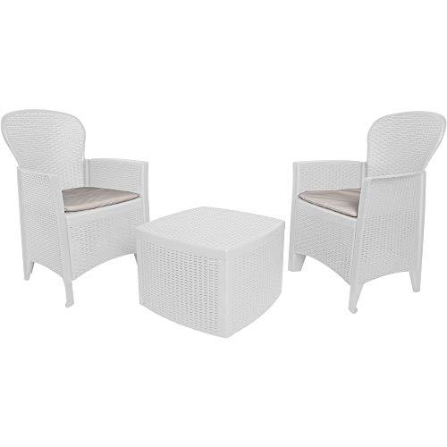 Dmora Set da Giardino con Cuscini, 2 poltrone e 1 tavolino Contenitore da Esterno, Made in Italy, Color Bianco